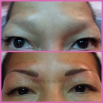 Top picture natural brows after chemotherapy. Bottom picture of both brows after advance technique of 3D brows.